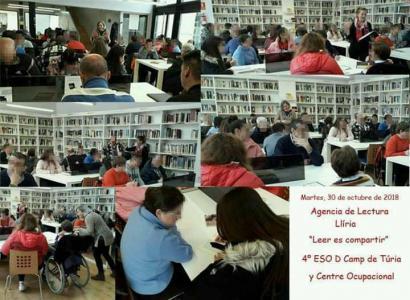 """Inclusión alumnos del centro Oupacional """" El Prat"""" participan en la campaña de fomento lector con escolares."""